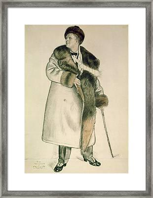Portrait Of The Opera Singer Feodor Ivanovich Chaliapin Framed Print by Boris Mihajlovic Kustodiev