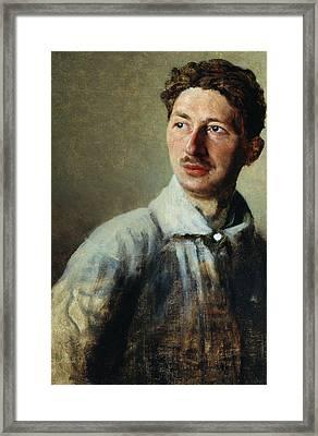 Portrait Of The Poet Sergey Gorodetsky Framed Print by Ivan Kirillovich Parkhomenko