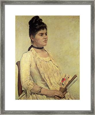 Portrait Of The Step Daughter Framed Print by Giovanni Fattori