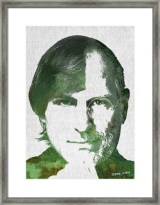 Portrait Of The Young And Old Steve Jobs  Framed Print by Aged Pixel