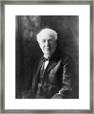 Portrait Of Thomas Edison Framed Print by Underwood Archives