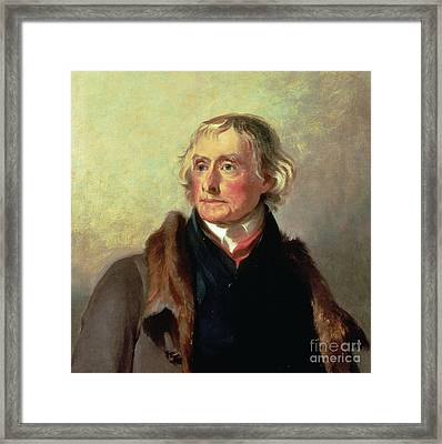 Portrait Of Thomas Jefferson Framed Print by Thomas Sully