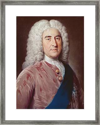 Portrait Of Thomas Pelham Holles 1693-1768 Duke Of Newcastle Under Lyme, Pastel On Paper Framed Print by William, of Bath Hoare