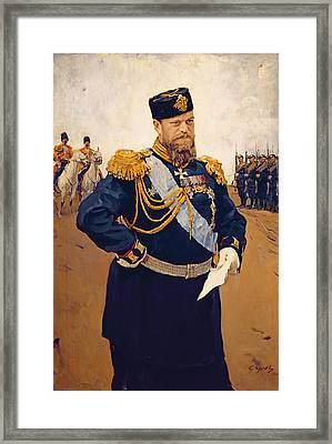 Portrait Of Tsar Alexander IIi, 1900 Oil On Canvas Framed Print by Valentin Aleksandrovich Serov