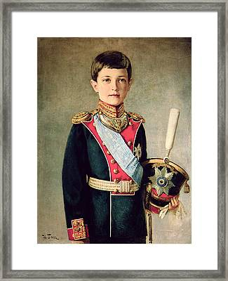 Portrait Of Tsarevitch Alexei Nikolaevich; Framed Print by Israel Abramovich Pass
