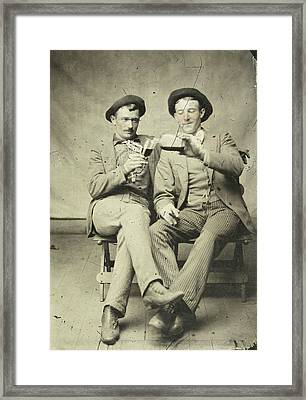 Portrait Of Two Men, One Of Whom Gave Another Drink Framed Print by Artokoloro