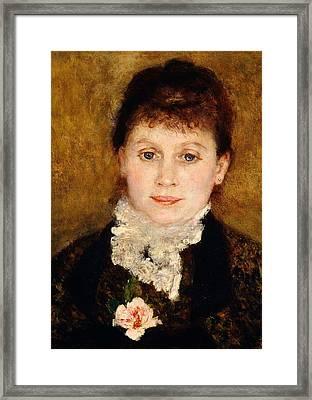 Portrait Of Woman Framed Print by Pierre-Auguste Renoir