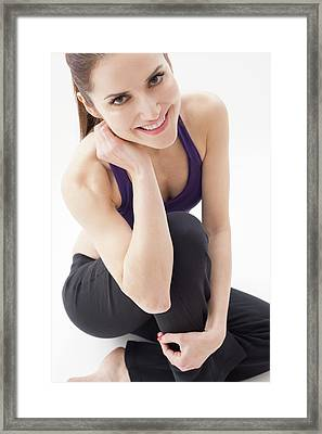 Portrait Of Woman Smiling Framed Print by Ian Hooton