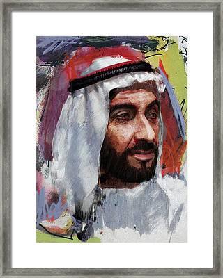 Portrait Of Zayed Bin Sultan Al Nahyan Framed Print by Maryam Mughal