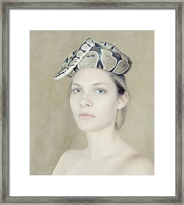 Portrait With The Snake Framed Print by Zina Zinchik