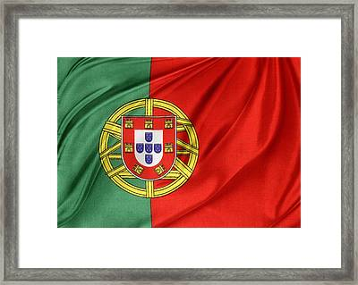 Portuguese Flag Framed Print by Les Cunliffe