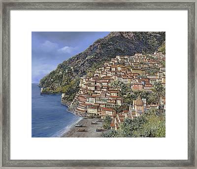 Positano E La Torre Clavel Framed Print by Guido Borelli