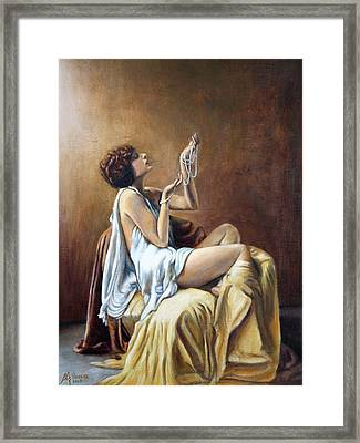 Possession-woman With Pearls Framed Print by Maxx Phoenixx