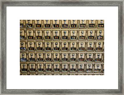 Post Office Combination Lock Boxes Framed Print by Sue Smith