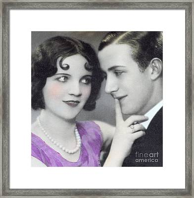 Postcard Depicting Two Lovers Framed Print by Italian School