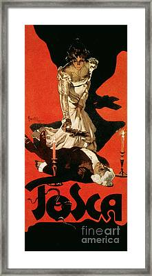 Poster Advertising A Performance Of Tosca Framed Print by Adolfo Hohenstein