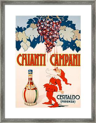 Poster Advertising Chianti Campani Framed Print by Necchi