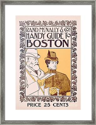 Poster Advertising Rand Mcnally And Co's Hand Guide To Boston Framed Print by American School