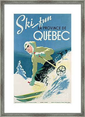 Poster Advertising Skiing Holidays In The Province Of Quebec Framed Print by Canadian School