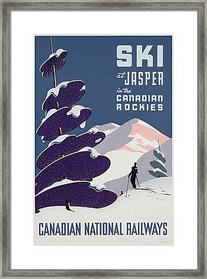 Poster Advertising The Canadian Ski Resort Jasper Framed Print by Canadian School