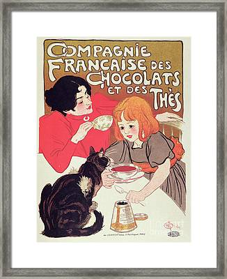 Poster Advertising The Compagnie Francaise Des Chocolats Et Des Thes Framed Print by Theophile Alexandre Steinlen