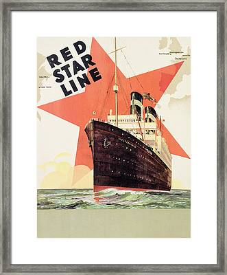 Poster Advertising The Red Star Line Framed Print by Belgian School