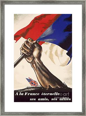 Poster For Liberation Of France From World War II 1944 Framed Print by Anonymous