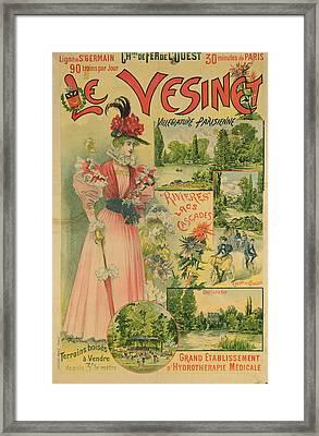 Poster For The Chemins De Fer De Louest To Le Vesinet Framed Print by Albert Robida