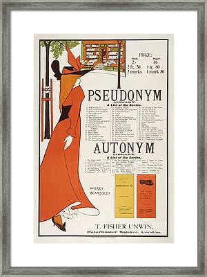 Poster For 'the Pseudonym And Autonym Libraries' Framed Print by Aubrey Beardsley