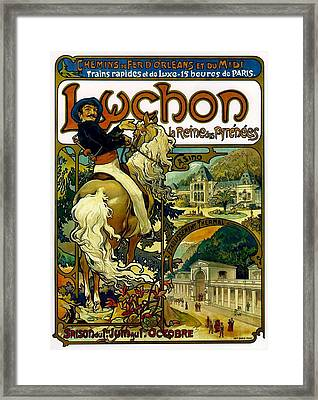 Poster For Trains To Luchon Framed Print by Alphonse Marie Mucha