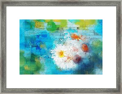 Pot Of Daisies 02 - J3327100-bl1t22a Framed Print by Variance Collections