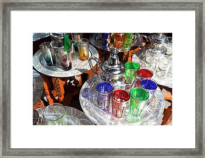 Pots Of Mint Tea And Glasses, The Souk Framed Print by Peter Adams