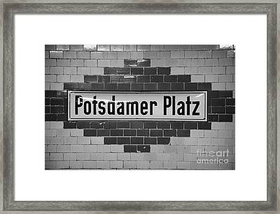 Potsdamer Platz Berlin U-bahn Underground Railway Station Name Plate Germany Framed Print by Joe Fox