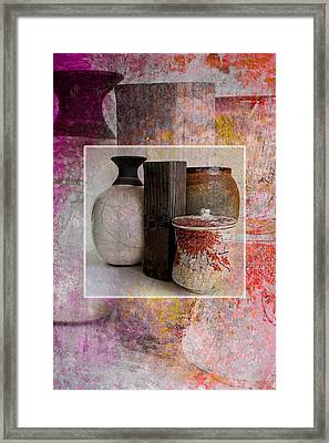 Pottery With Abstract Framed Print by John Fish
