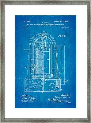 Poulsen Magnetic Tape Recorder Patent Art 1900 Blueprint Framed Print by Ian Monk