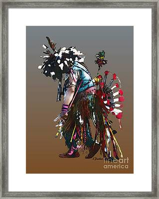 Pow Wow Dancer Framed Print by Linda  Parker
