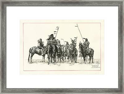 Atsina Warriors Horseback Framed Print by Don  Langeneckert