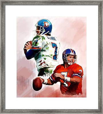 Power Force John Elway Framed Print by Iconic Images Art Gallery David Pucciarelli