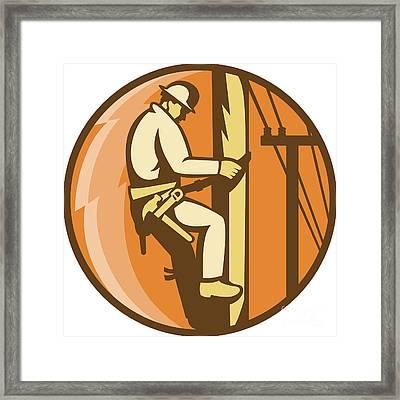 Power Lineman Electrician Climbing Utility Post Framed Print by Aloysius Patrimonio