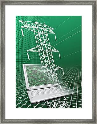 Power Lines And Laptop Framed Print by Victor Habbick Visions