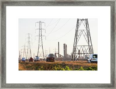 Power Lines To A Petrochemical Plant Framed Print by Ashley Cooper