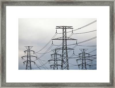Power Lines To An Aluminium Smelter Framed Print by Ashley Cooper