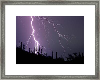 Powerful Cloud-to-ground Lightning Framed Print by Thomas Wiewandt