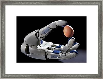 Pr2 Robot Hand Holding An Egg Framed Print by Patrick Landmann