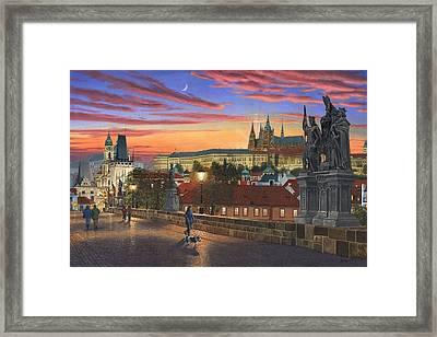 Prague At Dusk Framed Print by Richard Harpum