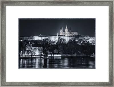 Prague Castle At Night Framed Print by Joan Carroll