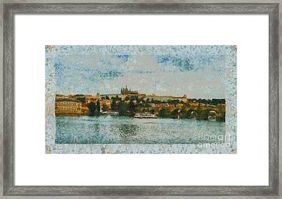 Prague Castle Over The River Framed Print by Dana Hermanova