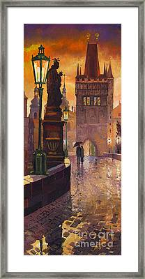 Prague Charles Bridge 01 Framed Print by Yuriy  Shevchuk