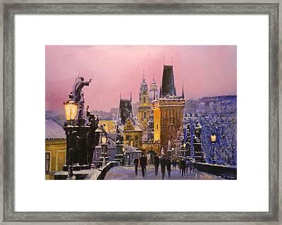 Prague Charles Bridge  Winter Evening Framed Print by Yuriy Shevchuk