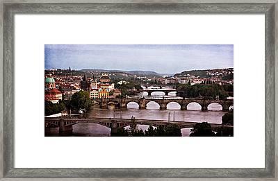Prague Cityscape - Texture Framed Print by Barry O Carroll